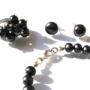 Комплект украшений с натуральным черным жемчугом - серьги-гвоздики, браслет и перстень