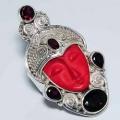 Комплект кулон и кольцо Резная богиня в серебре