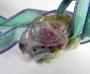 Кулон резной Птица на цветке гибискуса агат