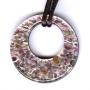 Муранское стекло, подвеска миллефиори сиреневая круглая