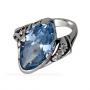 Кольцо Миндаль из серебра 925 пробы, 398_blue
