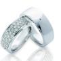 Обручальные кольца с бриллиантами серии Twin Set из палладия 850 пробы, 2 штуки, арт: ТС Pd 3298