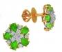 Серьги пусеты золотые с изумрудами и бриллиантами, арт: CE3319EM