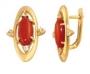 Серьги золотые с кораллами и цитринами, арт: С-480