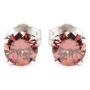 Серьги (пуссеты) золотые с розовыми бриллиантами, арт: 0414/м000-323-660