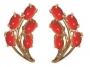 Серьги золотые с кораллами, арт: С-11073