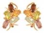 Серьги золотые с гранатами, топазами, хризолитами, аметистами, цитринами, арт: С-1223