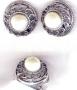 Перстень (20 размер) и серьги с жемчугом