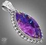 Комплект, кольцо и кулон с пурпурно-медной бирюзой