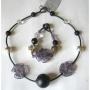 Бусы и браслет из муранского стекла с шунгитом м-12, б-8.233 PJ-murano